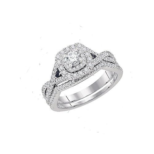 14 kt oro blanco para mujer natural diamante redondo certificado EGL novia boda anillo de compromiso