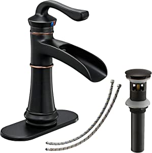 Bathlavish Oil Rubbed Bronze Bathroom Faucet Waterfall Vanity with Pop up Drain Assembly Single Handle Bath Lavatory Faucets Commercial One Hole Basin Mixer Tap Supply Lines Lead-Free