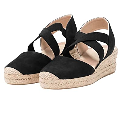 e5ed63445b5 Womens Criss Cross Espadrille Platform Wedge Elastic Strappy Mid Heel  Sandals Black