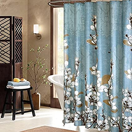 Moldiy White Magnolia Bathroom Shower Curtain