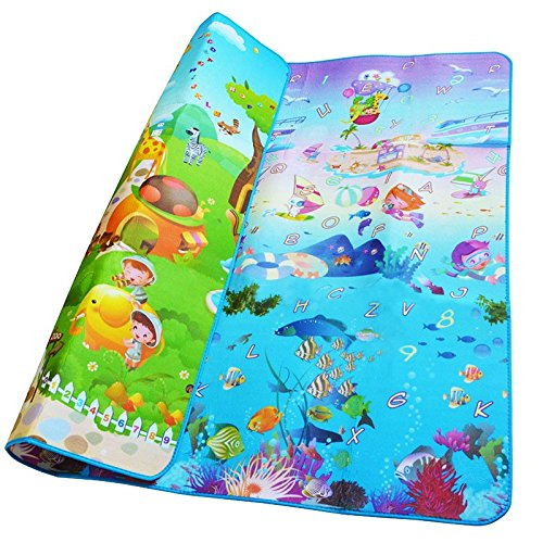 Price comparison product image 200x180x0.5CM Two Side Alphabet Baby Play Mat Fruit Animal Infant Crawling Mat Floor Educational Develop Toddler Toy Carpet Pad (Type 3)