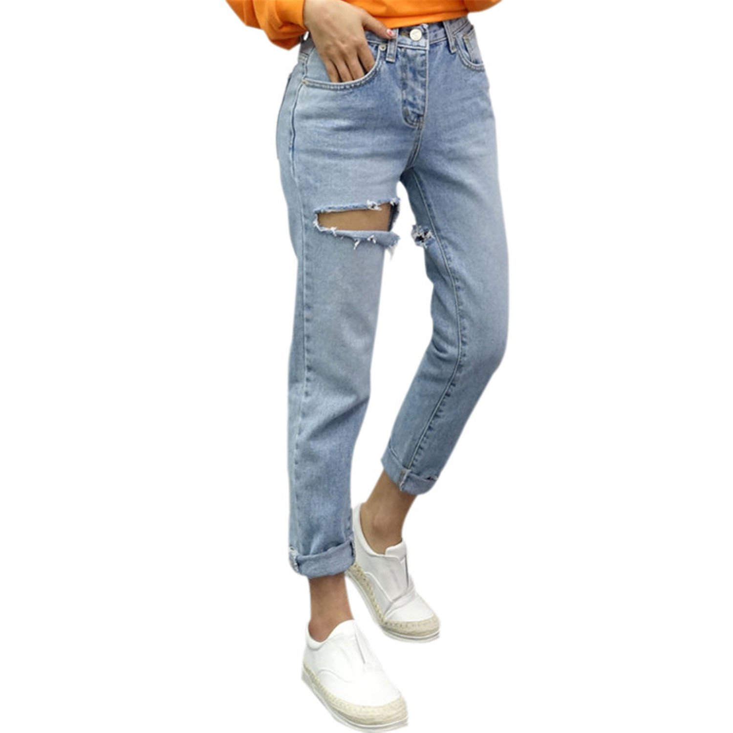 Hoared 2017 Summer Ripped Big Rip Hole Jeans Woman Casual Mom Jeans Women Jeans Pants Blue L
