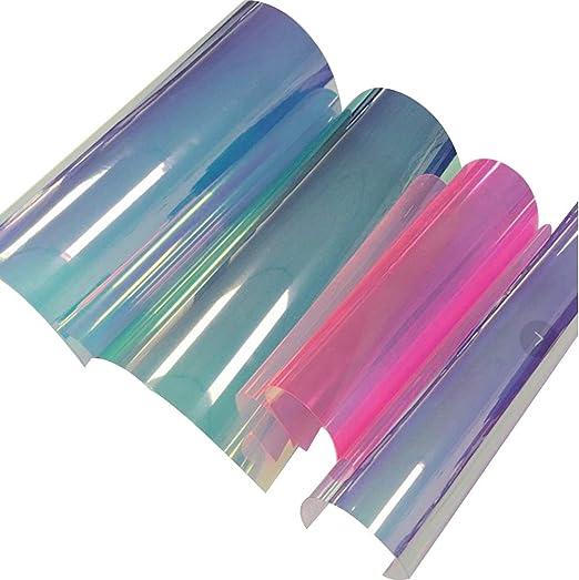 SUPVOX 4 hojas A4 PVC holográfico transparente lámina de espejo holográfica vinilo tela gráfica para zapatos bolsa costura parches DIY arco Craft Applique: Amazon.es: Hogar