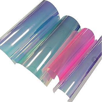 SUPVOX 4 Hojas A4 PVC holográfico Transparente lámina de Espejo holográfica Vinilo Tela gráfica para Zapatos Bolsa Costura Parches DIY Arco Craft ...