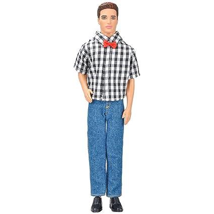 35213479 Amazon.com: E-TING Doll Clothes Quality Plaid Shirt and Black Denim ...