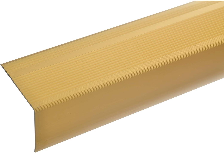 acerto 51038 Perfil angular de escalera de aluminio - 100cm 55x69mm dorado * Antideslizante * Robusto * Fácil instalación | Perfil de borde de escalera perfil de peldaño de escalera de aluminio: Amazon.es: Bricolaje y herramientas