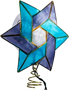 Kurt Adler 10-Light Star of David Capiz Colored Christmas Treetop, 8.5-Inch