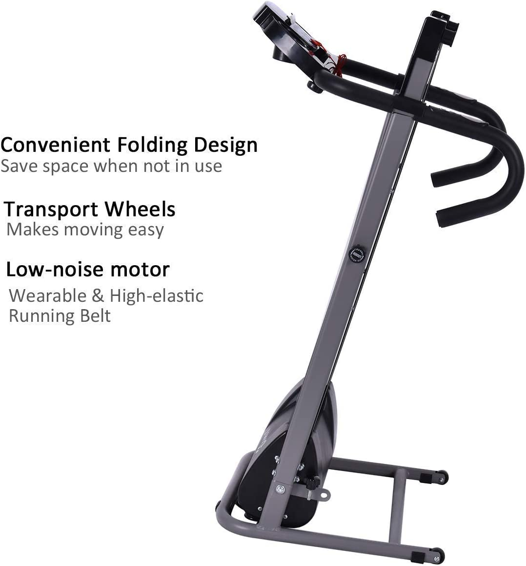 Goplus Electric Folding Treadmill, Compact Running Machine with LCD Display and Pad Holder, Ideal for Home Use