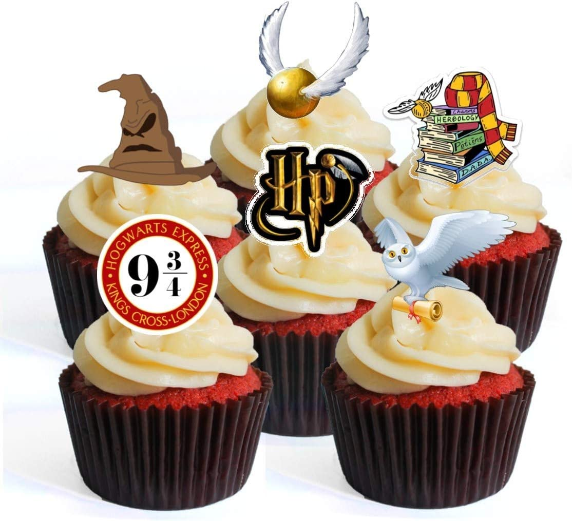 Stand Up Wafer Decorations Wizard Magier Harry Theme Edible Cupcake Toppers Packung mit 12