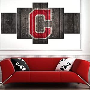 Native American Picture Framed Wall Art for Living Room Baseball Sport Home Decor Cleveland Indians Team Logo Painting Printed on Canvas Multi Panels Artwork Stretched Ready to Hang(60Wx32H inches)