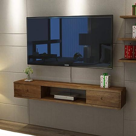 LJWLCH - Mueble de televisión de Madera Maciza 100% Flotante para televisor de Pared, Elemento de Pared para salón o DVD Rack-Box Rack Multifunción con cajón, Madera, Color, 140 cm: Amazon.es: Hogar