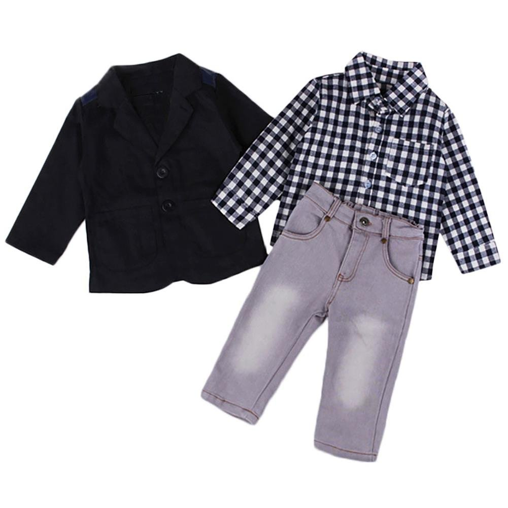 JaneDream Boy Kid Black Coat Plaid Shirt Pant 5T