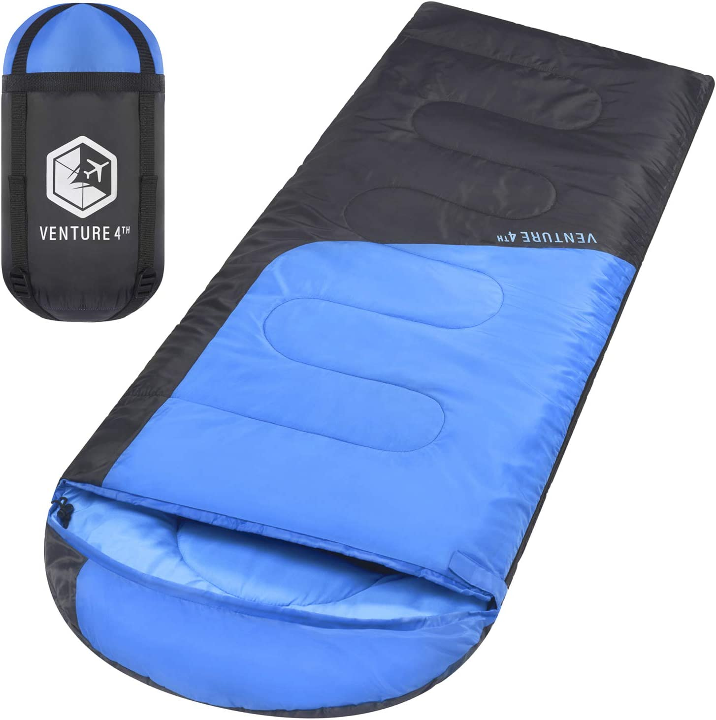Backpacking Sleeping Bag – Lightweight, Comfortable, Water Resistant, 3 Season Sleeping Bag for Adults & Kids – Ideal for Hiking, Camping & Outdoor Adventures - Regular Size