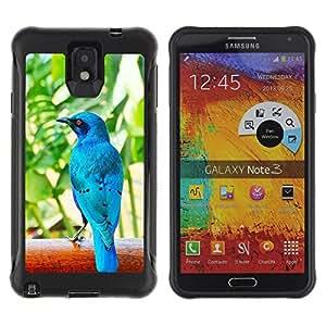 iKiki Tech / Estuche rígido - Blue Tropical Bird Nature Rainforest - Samsung Note 3