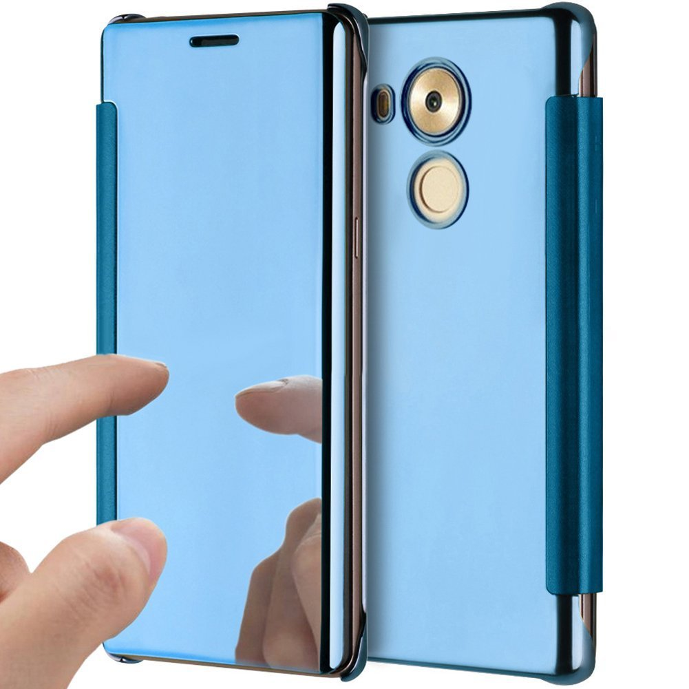 PHEZEN Huawei Mate 8 Case, Luxury Mirror Makeup Case Plating PU Leather Flip Protective Cover [Kickstand Feature] Magnetic Closure Full Cover Case for Huawei Mate 8 (Blue)