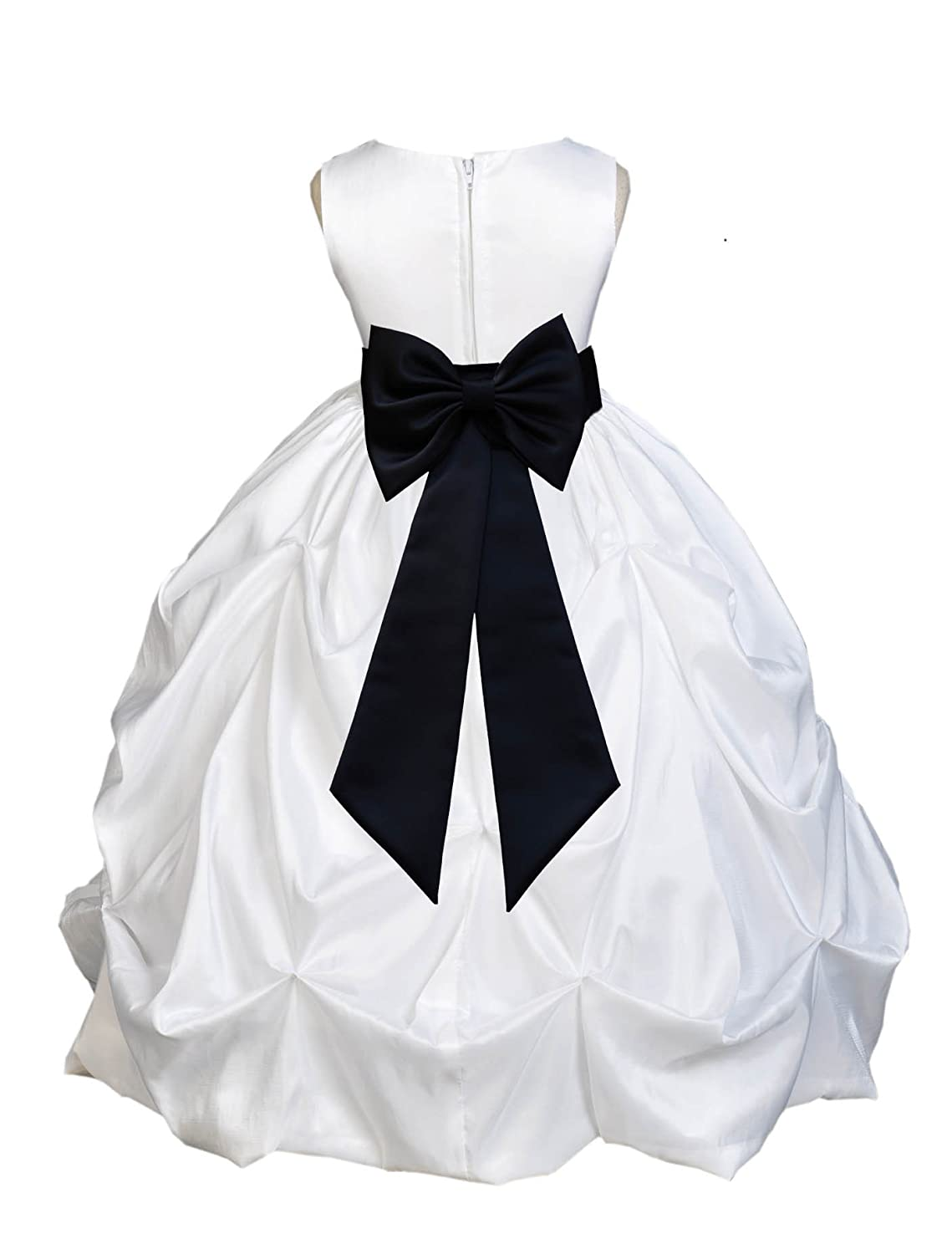 ekidsbridal White Satin Taffeta Pick-up Bubble Flower Girl Dress Christening Dresses 301T