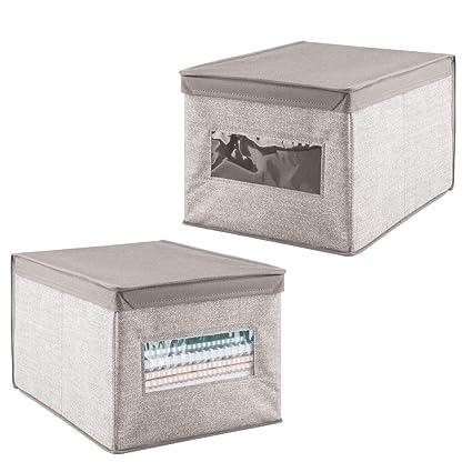 mDesign – Juego de 2 cajas organizadoras para ordenar armarios – Caja de tela con tapa