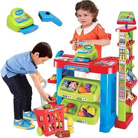 Caja registradora de supermercado de juguetes para niños, mostrador de venta de simulación de tienda / tienda de comestibles Simule un juguete, conjunto de juguetes de estante de supermercado de cos: Amazon.es: