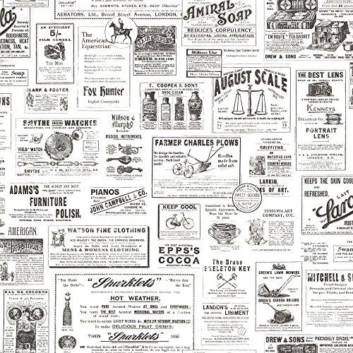 Chesapeake CTR64272 Adamstown Ivory Vintage Newspaper Wallpaper