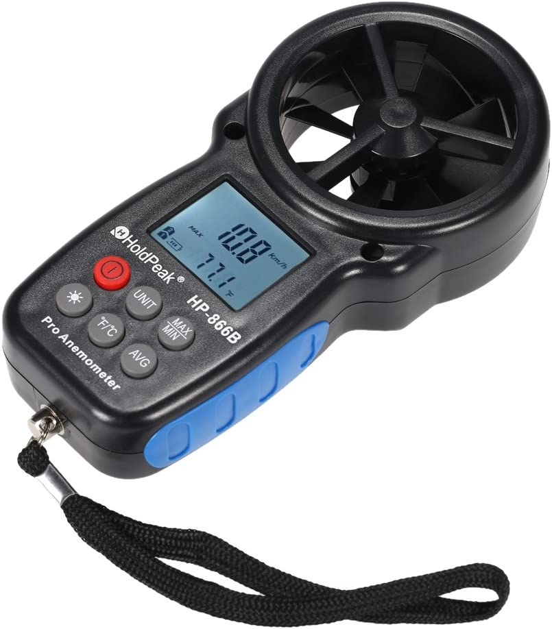 HKANG® Anemómetro Termómetro Digital De Pantalla LCD Medidor De Velocidad Viento Aire Con Luz De Fondo Para Vela, Cometa, Surf, Marina, Pescar
