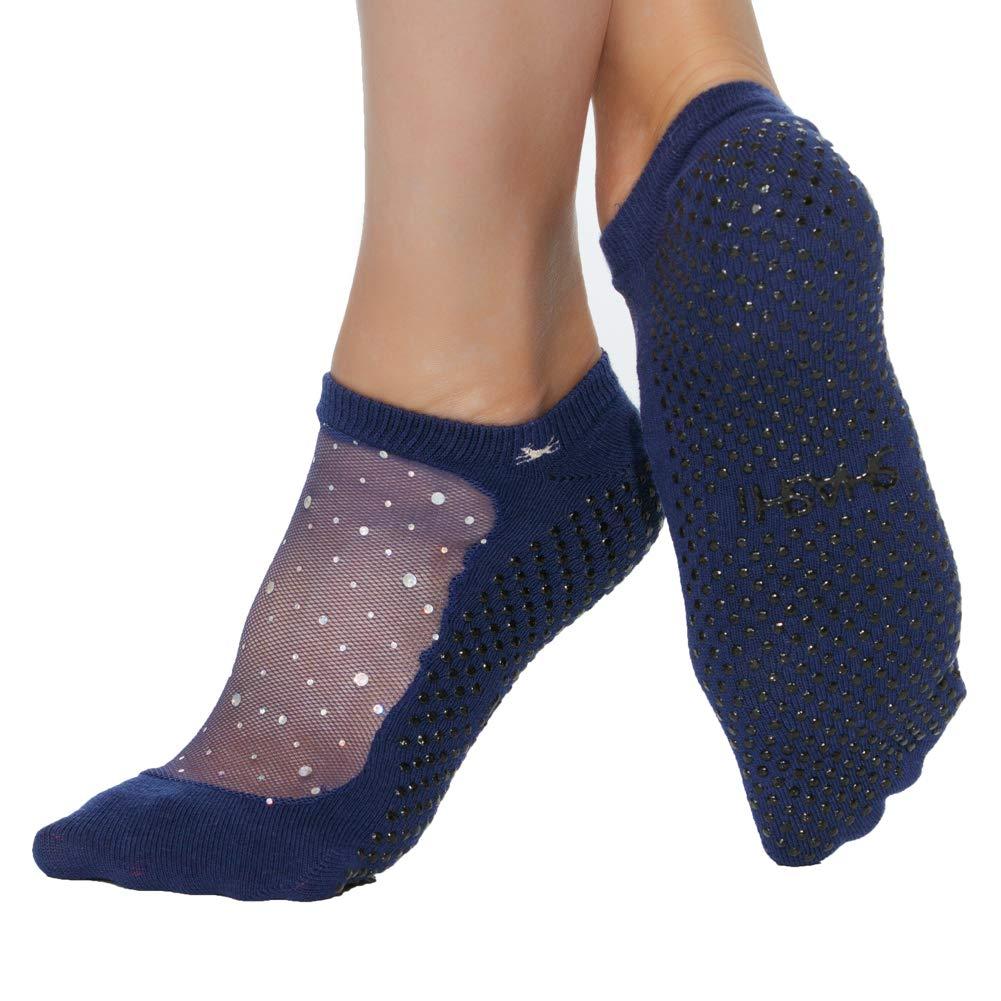 Shashi Star Glitter Mesh Non-Slip Sock, Ergonomic, Comfort Socks START-PR-SM