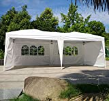Wedding Party Tent Easy Pop Up Folding Outdoor Canopy Screen Sun Shelters Houses Gazebos Heavy Duty with Sides Sidewalls for BBQ Carport with Carrying Bag-10′ X 20′ With 4 Removable Walls (White) For Sale