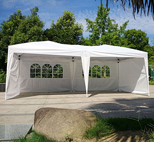 Z ZTDM 10′ X 20′ Pop Up Canopy Tent Wedding Party Easy Folding Outdoor Screen,Sun SheltersHouses Gazebos with Sidewalls for BBQ Carport with Carrying Bag,w/4 Removable Walls(White)