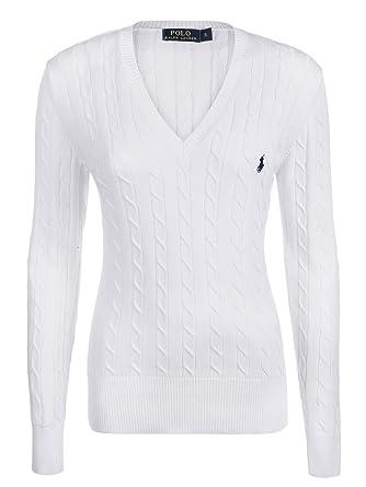 f4256221ba8907 Ralph Lauren - Pull Femme Luxe Encolure En V Manche Longue Maille - Blanc, X