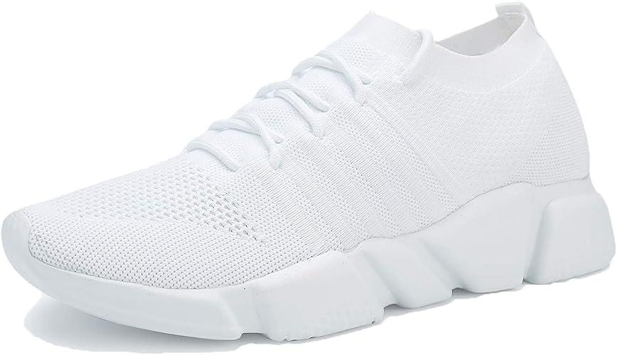 WXQ - Zapatillas de Running para Hombre, Transpirables, de Malla, Suela Suave, Informales, atléticas, Ligeras, para Caminar, (White 004), 42.5 EU: Amazon.es: Zapatos y complementos