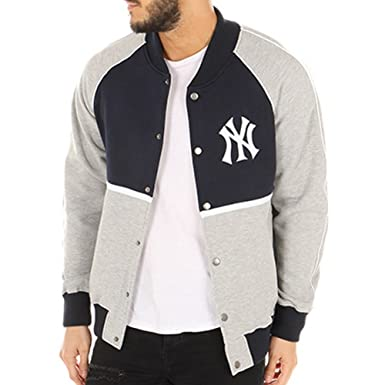 majestic Jacket – MLB New York Yankees Fleece Letterman Blue Grey Size  M ( 9402f2be15f