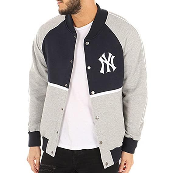 c1544eff5 majestic Jacket - MLB New York Yankees Fleece Letterman Blue Grey Size  S  (Small)  Amazon.co.uk  Clothing