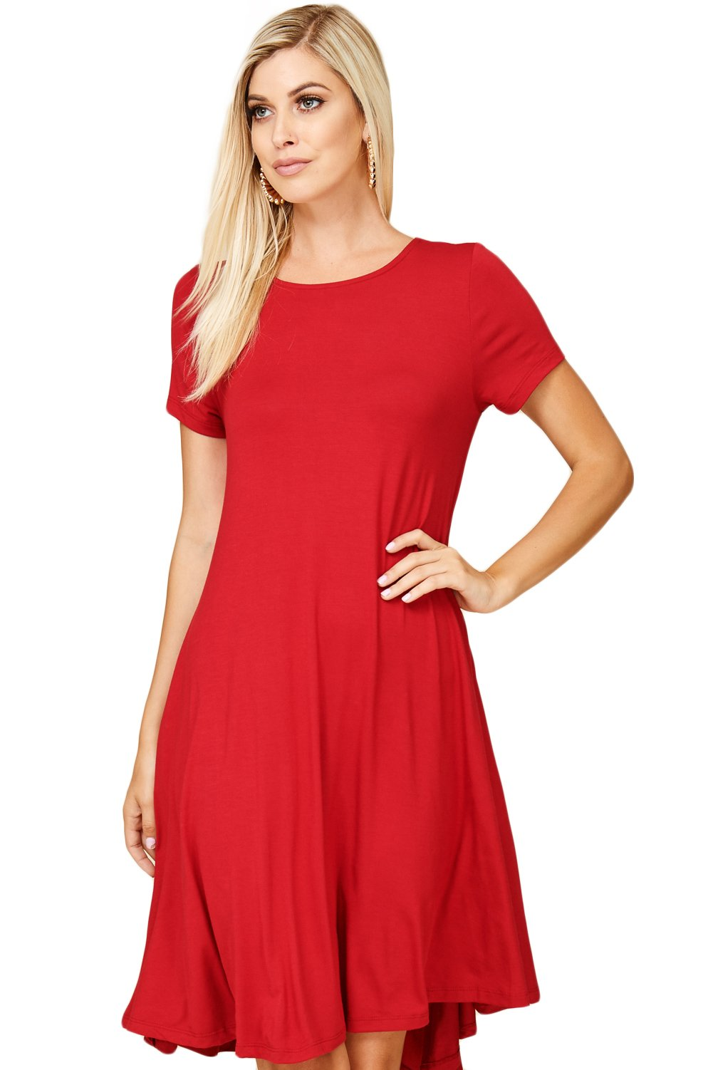 Annabelle Women's Comfy Short Sleeve Scoop Neck Swing Dresses With Pockets Large Dark Red D5213 by Annabelle