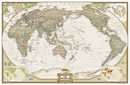 National Geographic: World Executive, Pacific Centered Enlarged Wall Map (73 x 48 inches) (National Geographic Reference Map)