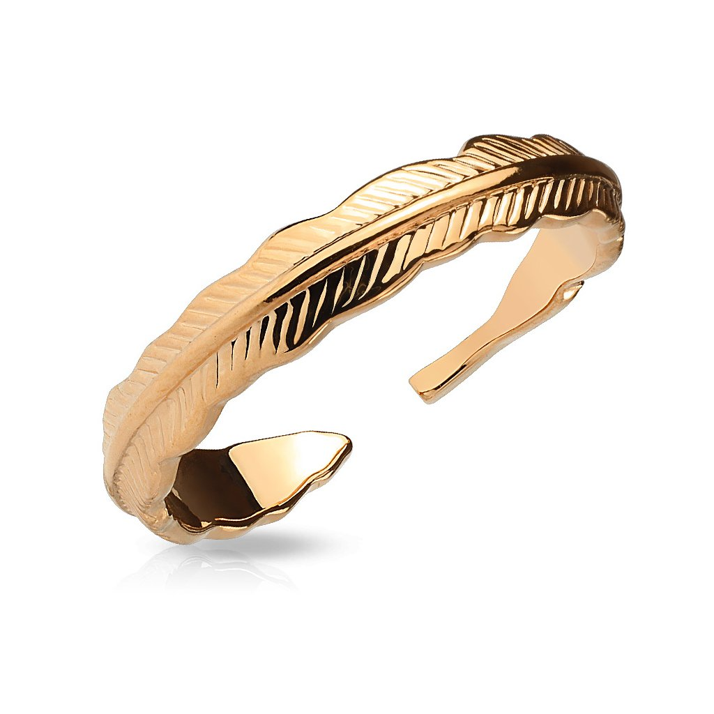 Tribal Feather Adjustable Rhodium Plated Brass Finger Mid-Ring or Toe Ring - Choose Color (Rose Gold)