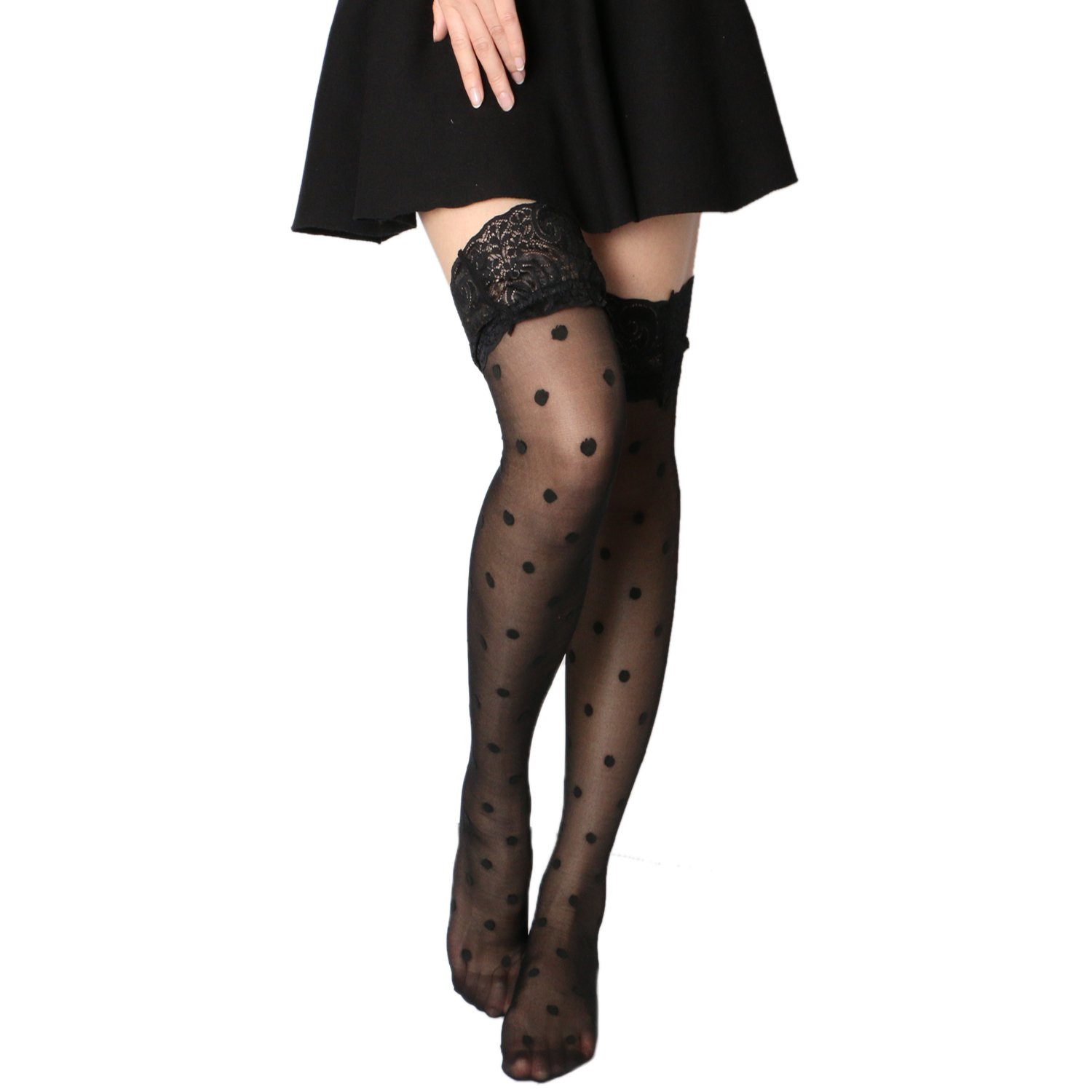 222eea25e Amazon.com  Tirain Sexy Womens Lace Top Silk Mesh Stockings Polka Dot  Fishnet Style Thigh High  Clothing
