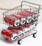 Miniature Shopping Cart Design Can Beverage Storage Rack Holder, Silver