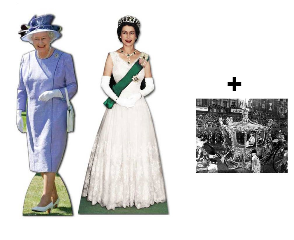 *COMMEMORATIVE DOUBLE PACK* - QUEEN ELIZABETH II (1953 TO 2012) - LIFESIZE CARDBOARD CUTOUT (STANDEE / STANDUP) SET - BRITISH DIAMOND JUBILEE 2012 - INCLUDES 8X10 (25X20CM) STAR PHOTO - FAN PACK #229