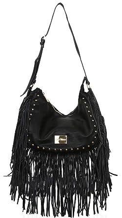 0f29ded81f Gessy Celebrity Style Rock Chic Tassel Shoulder Fringe Bag Handbag By LYDC ( Black)  Amazon.co.uk  Clothing