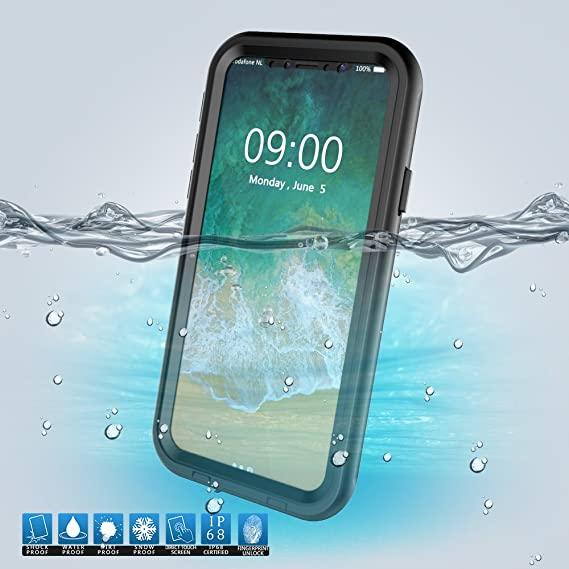 best website 00250 e4288 iPhone X Waterproof Case, Amever IP68 Underwater Snow Proof, Shockproof,  Touch Screen Touch ID Built-in Screen Protector with Hand Strap Kickstand  ...