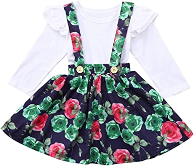 Toddler Kid Baby Girl Floral Ruffled T Shirt Suspender Skirt Clothes Outfits Set