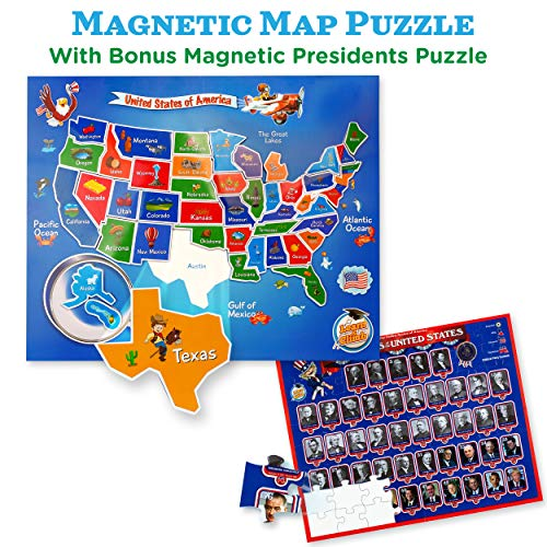 USA Map & Presidents Puzzles for Kids Ages 4-8. 2-in-1 Magnetic United States Puzzle Kit. Great for -
