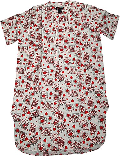 Varsity - Mens Short Sleeve Valentine Broadcloth Nightshirt, White 33291-S/M -
