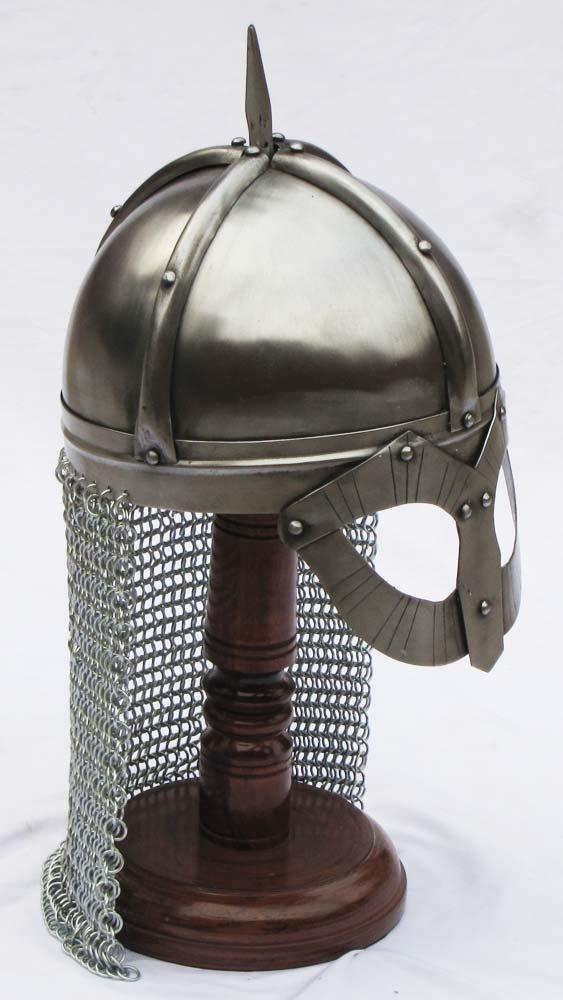 Shiv (TM Shakti Unternehmen Mittelalter Gjermundbu Norman Viking Spektakel Armour Helm mit chain-mail & Gratis Ständer aus Holz