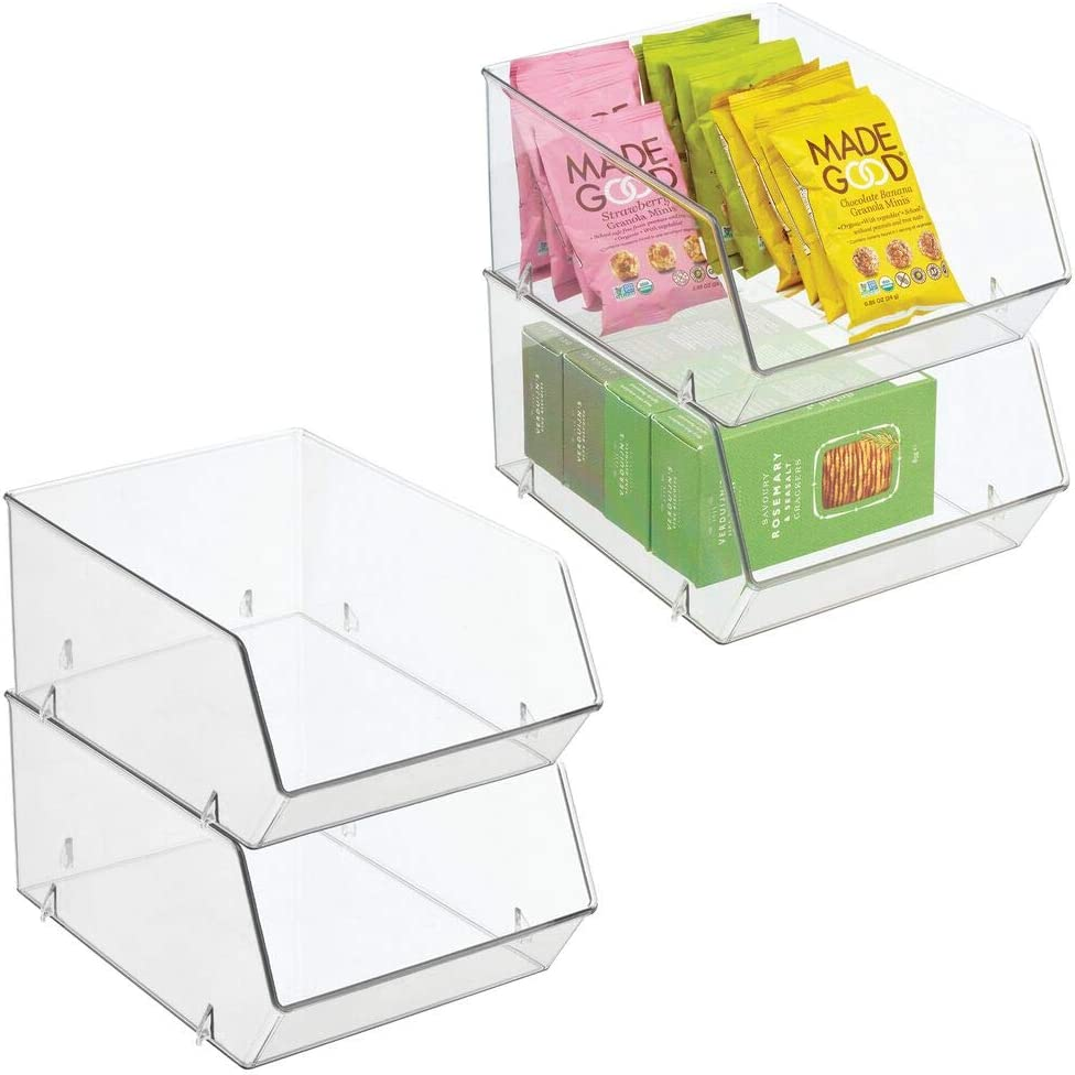 mDesign Plastic Open Front Food Storage Bin for Kitchen Cabinet, Pantry, Shelf, Fridge/Freezer - Organizer for Fruit, Potatoes, Onions, Drinks, Snacks, Pasta - 11