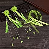 HJPRT antique chinese costume han chinese clothing accessories hairpin edge ribbon tassel ol hair clip barrette hair ornaments head ornaments hop dance (green