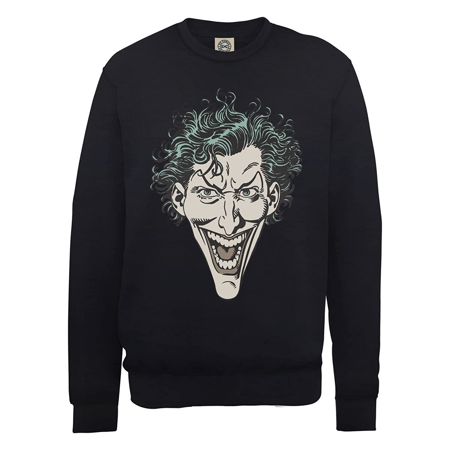 DC Comics Men's DC0000746 DC Comics Official The Joker Head Crew Neck Long Sleeve Sweatshirt