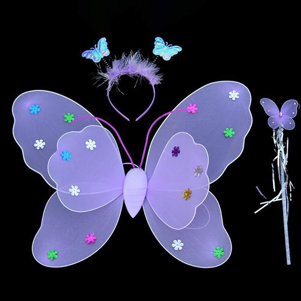 Birthday Hallowmas Party Fancy Dress URMAGIC 3pcs//Set Girls Led Flashing Light Fairy Butterfly Wings Headband Wand Costume Gift Photography Props Perfect for Kids Girls in Kindergarten