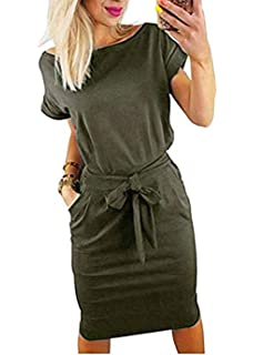 4170fdfc3e PALINDA Women's Striped Elegant Short Sleeve Wear to Work Casual Pencil  Dress with Belt