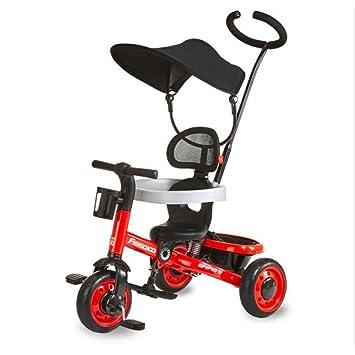 QXMEI Bicicleta De Triciclo para Niños de 1 A 3 Años Carritos De Bebé Carrito De Juguetes para Bebés con Toldo,Red: Amazon.es: Hogar
