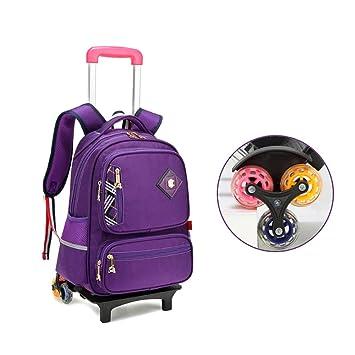 YSZDM Bolso con Ruedas para niños, Trolley Unisex Bolso para Libros para niñas primarias, Mochila con Ruedas para niños, Maleta con Seis Ruedas,Purple: ...